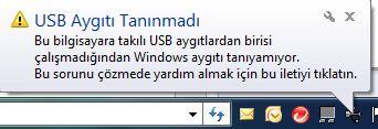 Bu bilgisayara Takılı Usb aygıtlarından birisi çalışmadığından windows aygıtı tanımıyor