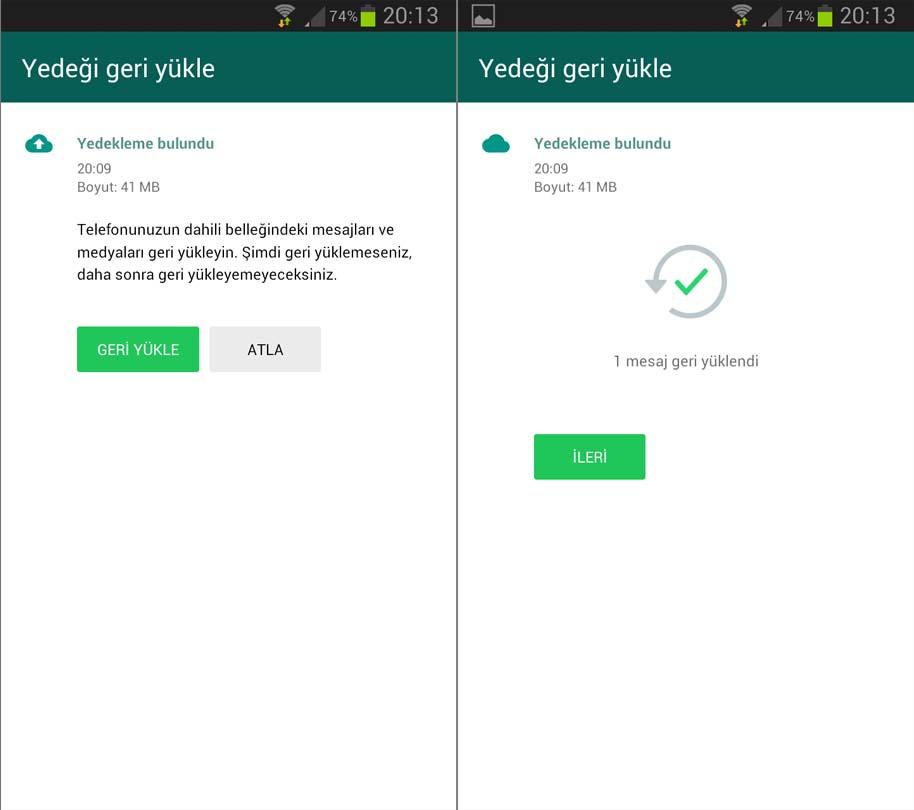 Android Geri Yükleme