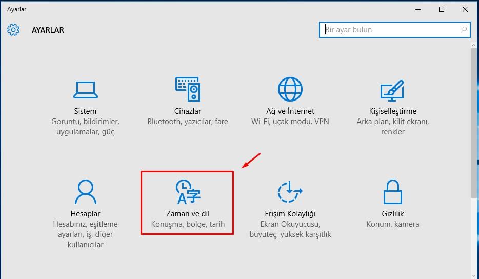 Windows 10 Klavye Değişikliği (2)