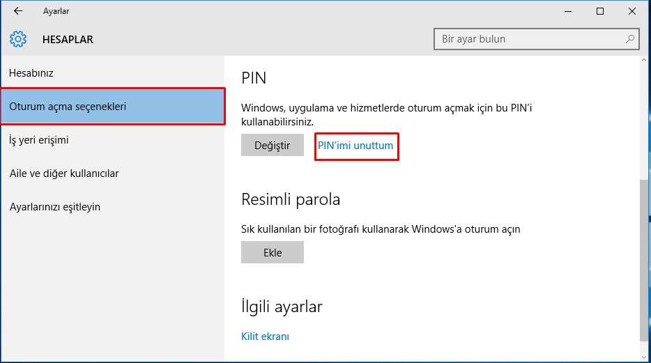 Windows 10 PIN Kaldırma (3)