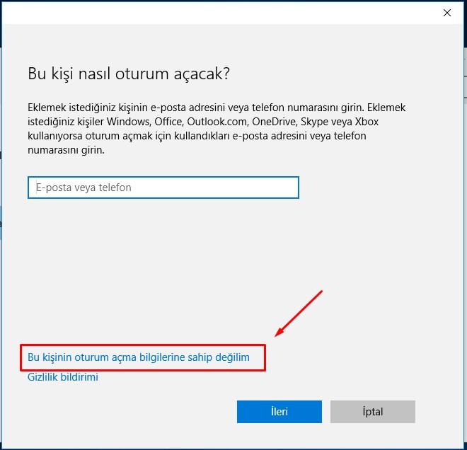 Windows 10 Yeni Kullanıcı Hesabı Ekleme (4)