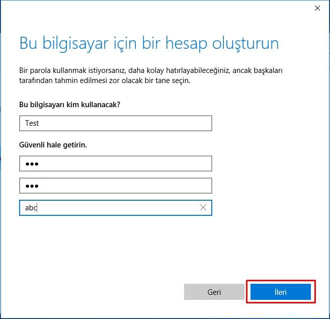 Windows 10 Yeni Kullanıcı Hesabı Ekleme (6)
