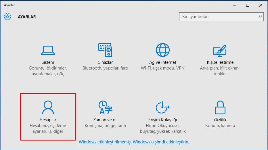 Windows 10 Yeni Kullanıcı Hesabı Ekleme (2)