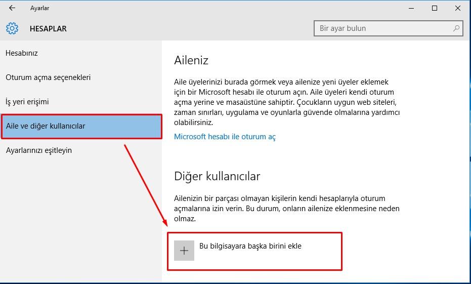 Windows 10 Yeni Kullanıcı Hesabı Ekleme (3)