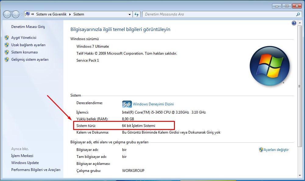 bilgisayarım kaç bit (2)