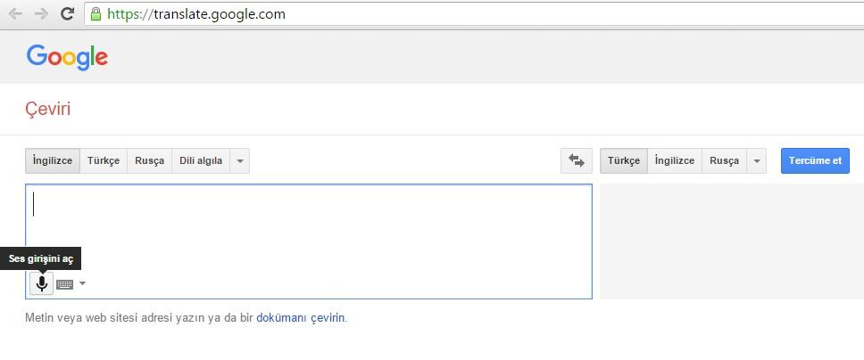 google ses çeviri