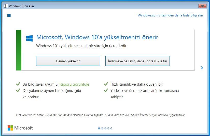 microsoft windows 10 a yükseltmenizi önerir