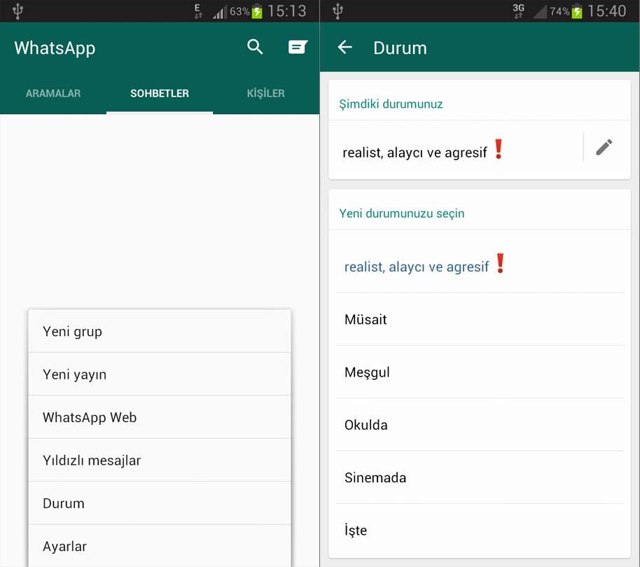 whatsapp-durum-değiştirme