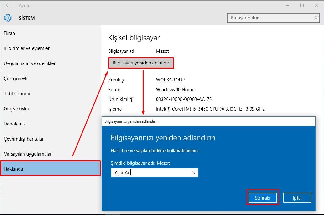 windows 10 bilgisayar adı değiştime (3)