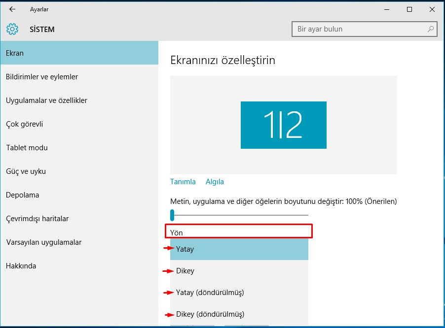 windows 10 ekran çevirme (2)
