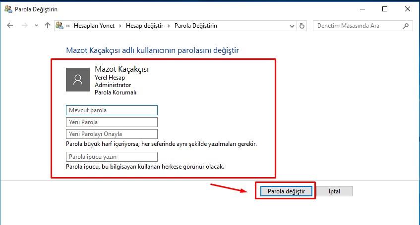 windows 10 parola değiştirme (5)