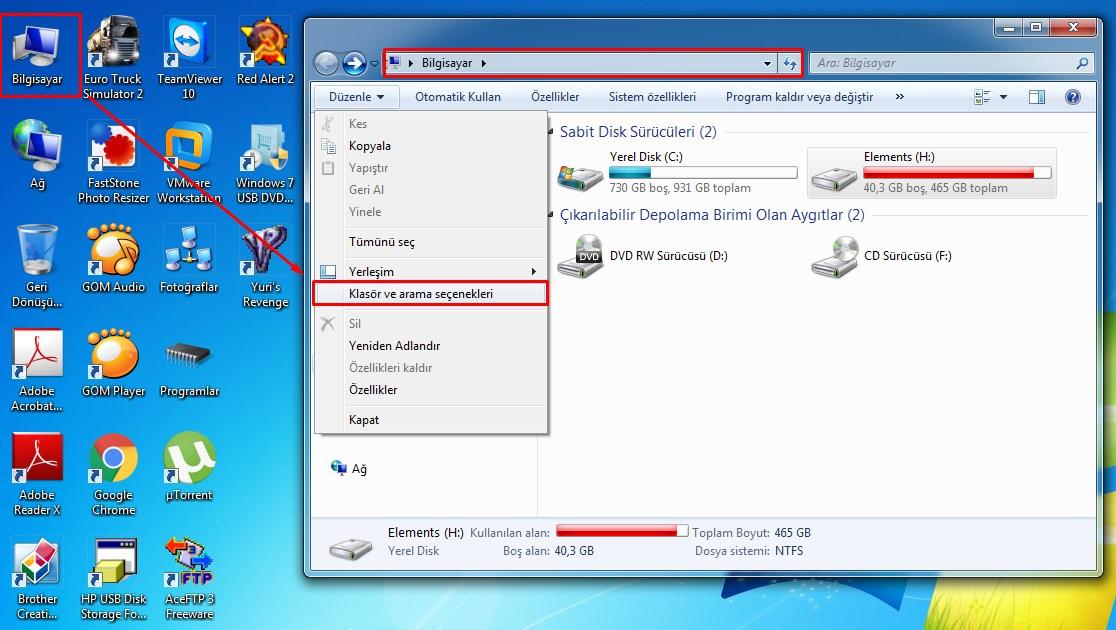 Bilgisayardaki Gizli Dosyaları Gösterme-1