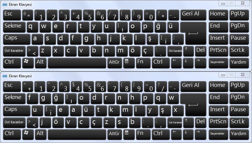 f ve q klavye