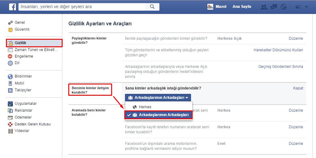 facebook arkadaşı ekle kapatma