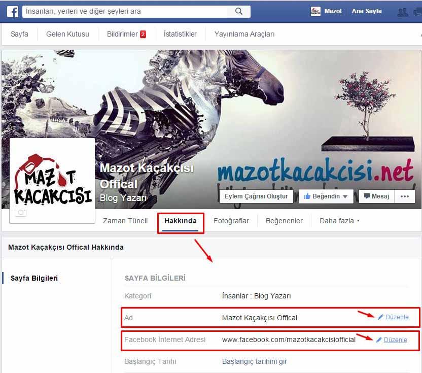 facebook beğeni sayfası adını değiştirme