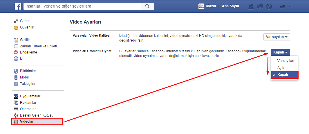 facebook otomatik video kapatma