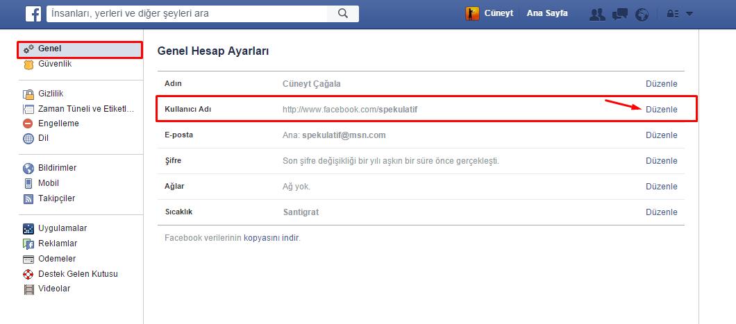 facebook profil adı
