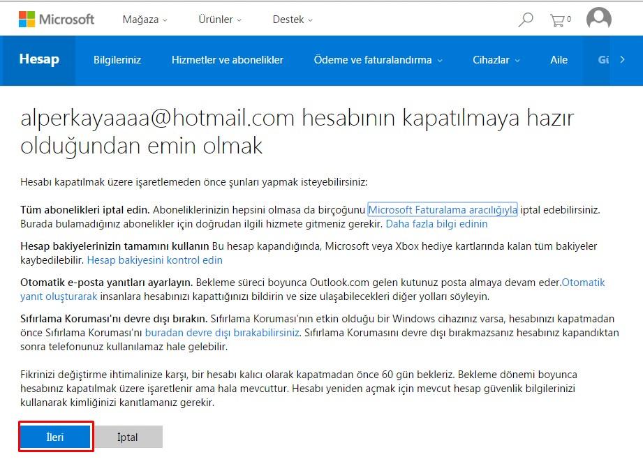 hotmail hesabı kapatma (5)