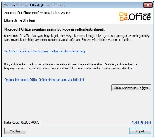 microsoft office uygulamasının bu kopyası etkinleştirilmedi (1)