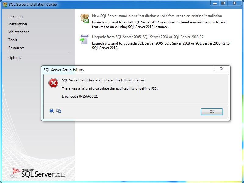 sql server setup failure