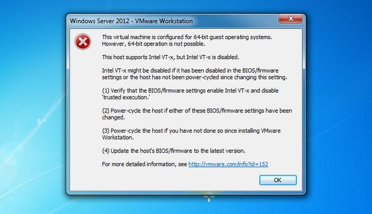 VM Ware 64 Bit Hatası