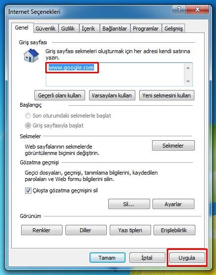 internet explorer anasayfa yapma