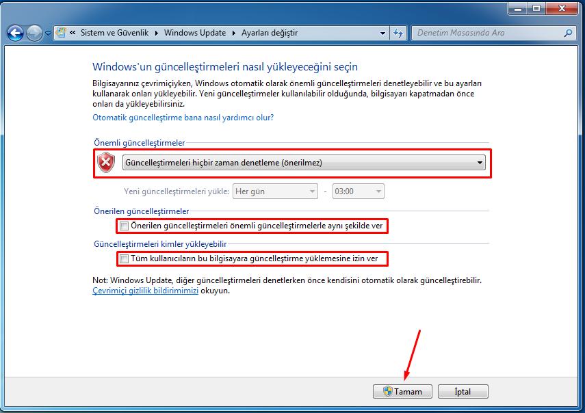 windows güncelleştirmeleri kapatma
