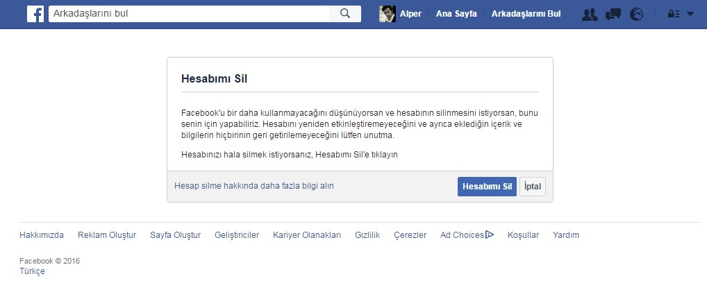 facebook hesap silme linki