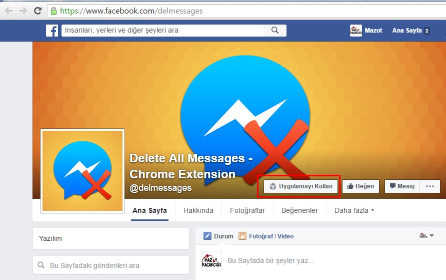 facebook toplu mesaj silme programı