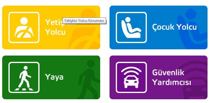 Euro NCAP, dört önemli alanda değerlendirmesine dayalı, 2009 yılında genel güvenlik değerlendirmesi tanıttı: (sürücü ve yolcu için) Yetişkin koruma; Çocuk koruma; Yaya koruma ve güvenlik teknolojileri Yrd. Genel star rating 1997 yılından beri kullanılan olmuştu Ratings 'düzeni, daha fazla esneklik eklemek tanıtıldı.
