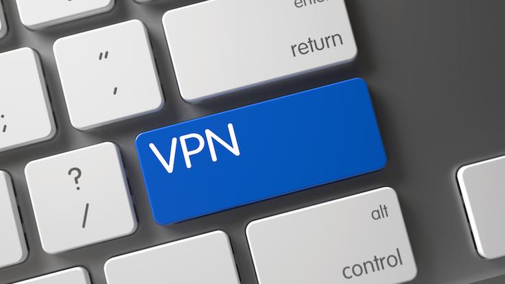 Keyboard with Blue Keypad - VPN. Modern Keyboard Button Labeled VPN. VPN Concept: Computer Keyboard with VPN, Selected Focus on Blue Enter Key. VPN Written on Blue Button of Modern Keyboard. 3D.