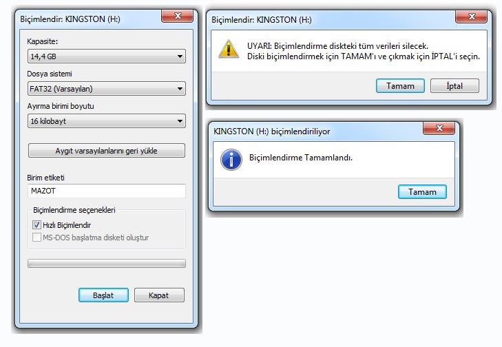 USB bellek biçimlendirme hatası çözümü
